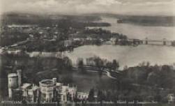 Alte Postkarte - Luftbildaufnahme mit Blick zur Gliniecker Brücke